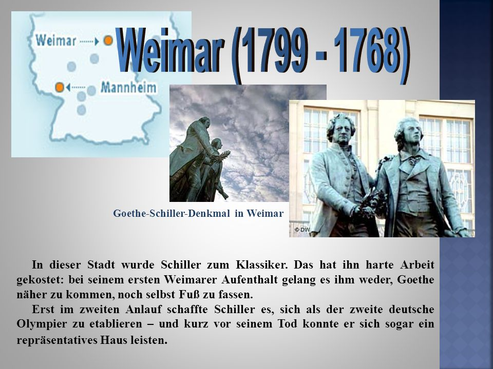 Weimar (1799 - 1768) Goethe-Schiller-Denkmal in Weimar.