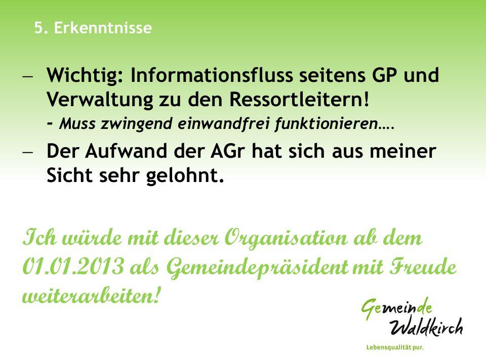 5. Erkenntnisse Wichtig: Informationsfluss seitens GP und Verwaltung zu den Ressortleitern! - Muss zwingend einwandfrei funktionieren….