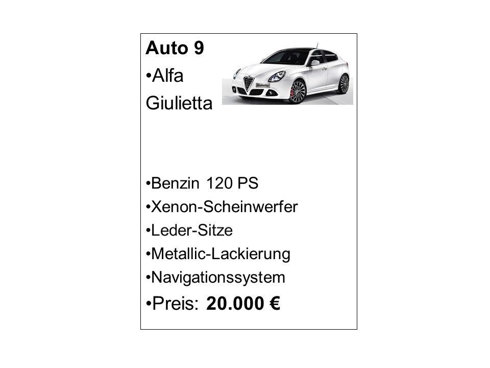 Auto 9 Alfa Giulietta Preis: 20.000 € Benzin 120 PS Xenon-Scheinwerfer