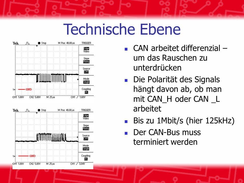Technische Ebene CAN arbeitet differenzial – um das Rauschen zu unterdrücken.