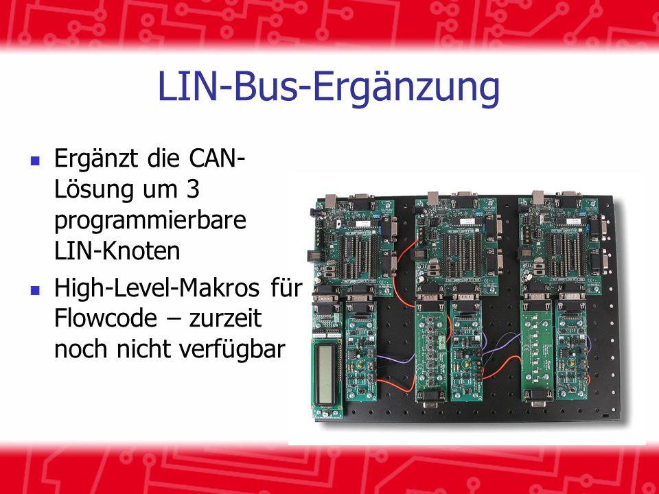 LIN-Bus-Ergänzung Ergänzt die CAN- Lösung um 3 programmierbare LIN-Knoten.