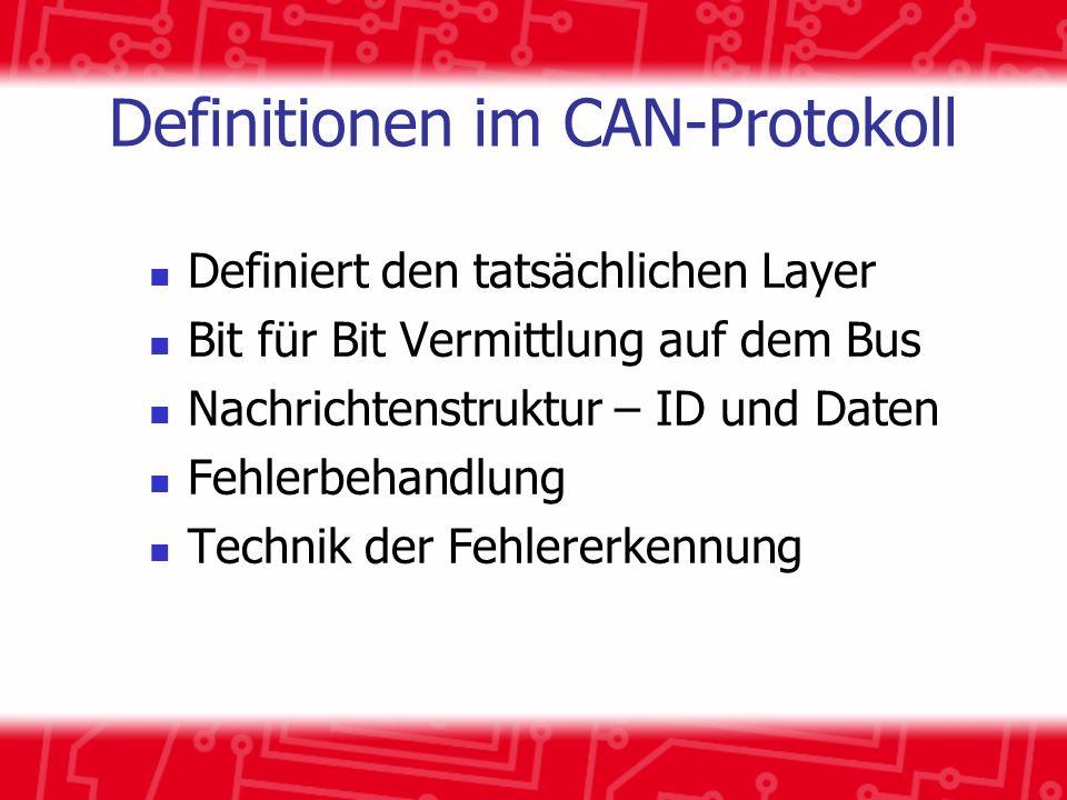 Definitionen im CAN-Protokoll