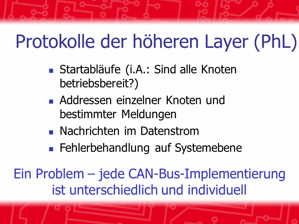 Protokolle der höheren Layer (PhL)
