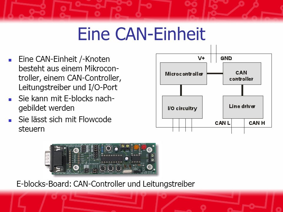 E-blocks-Board: CAN-Controller und Leitungstreiber
