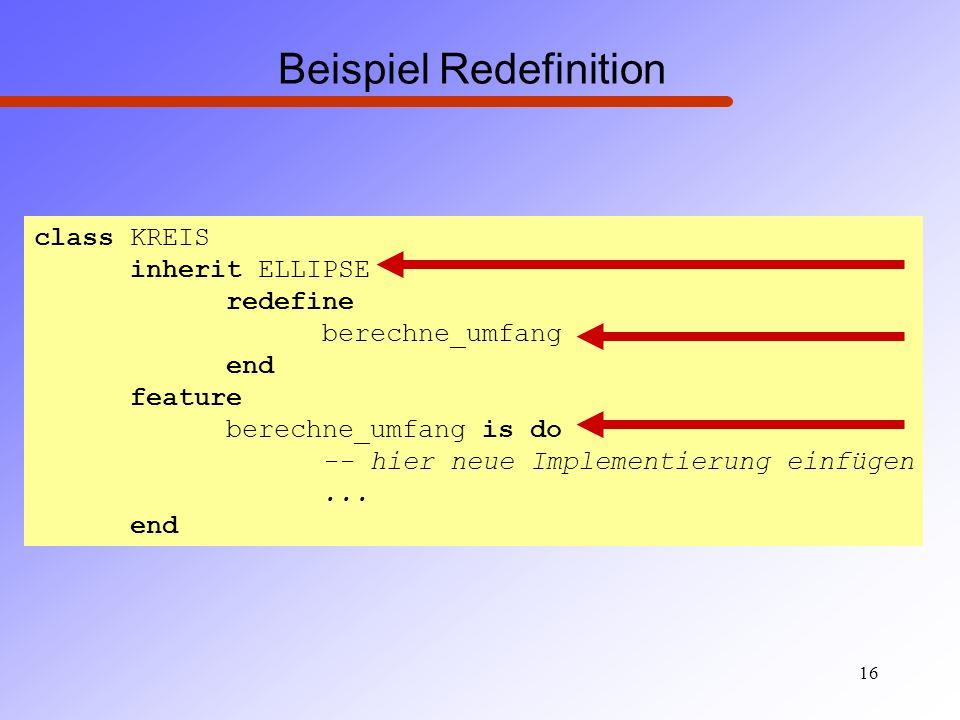 Beispiel Redefinition