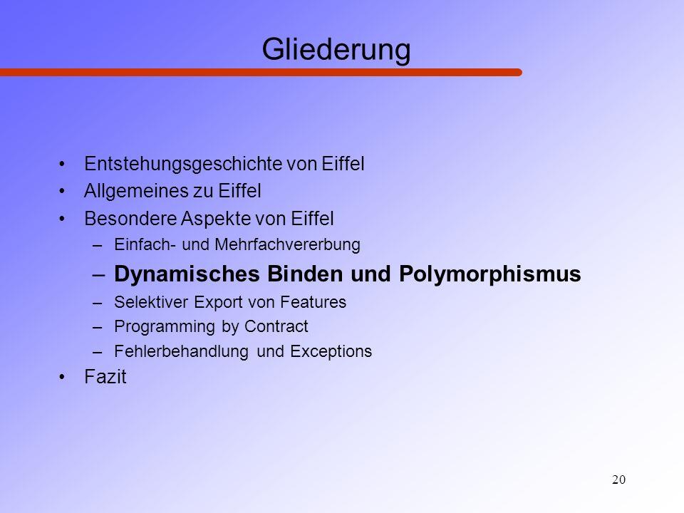 Gliederung Dynamisches Binden und Polymorphismus