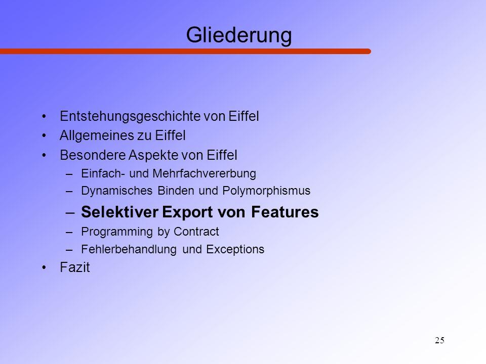 Gliederung Selektiver Export von Features