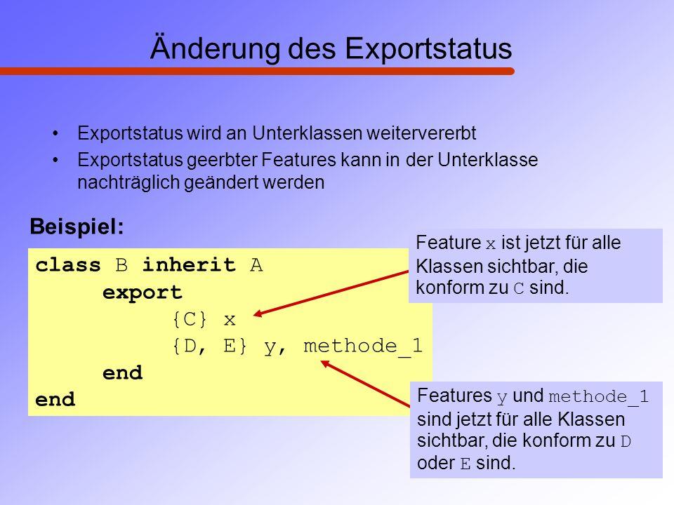 Änderung des Exportstatus