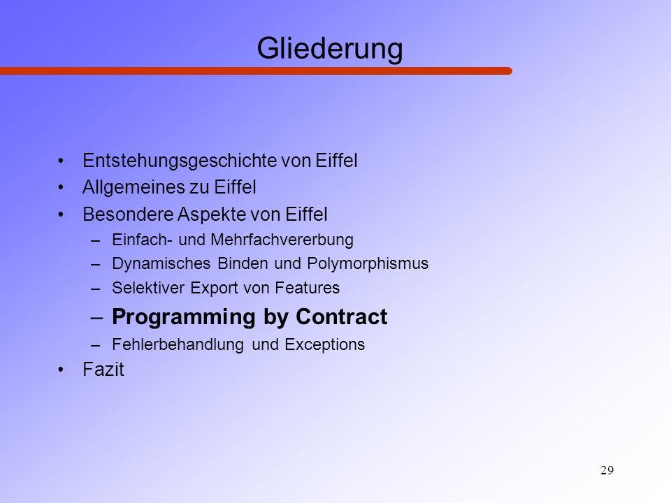 Gliederung Programming by Contract Entstehungsgeschichte von Eiffel