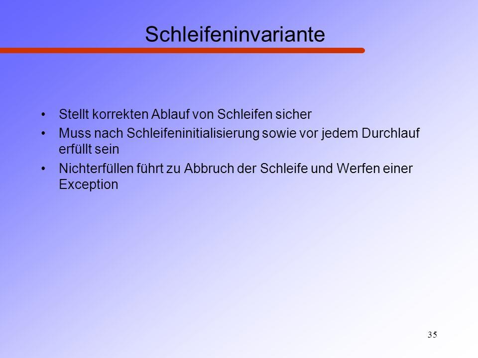 Schleifeninvariante Stellt korrekten Ablauf von Schleifen sicher