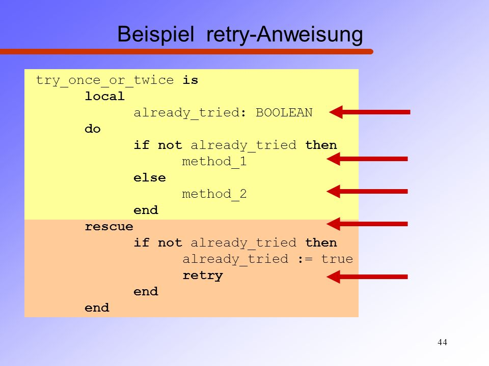 Beispiel retry-Anweisung