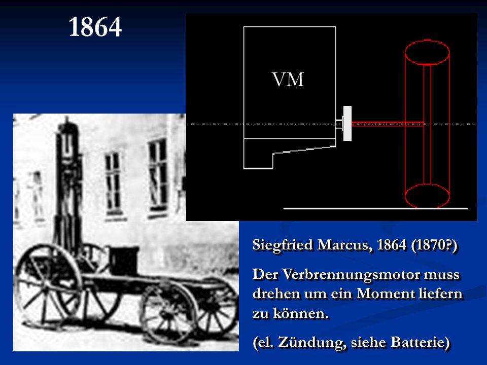 1864 VM. Siegfried Marcus, 1864 (1870 ) Der Verbrennungsmotor muss drehen um ein Moment liefern zu können.