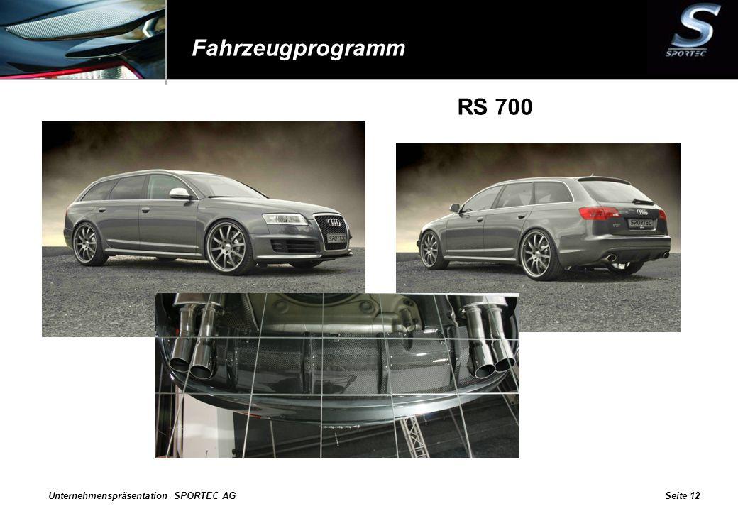 Fahrzeugprogramm RS 700 Unternehmenspräsentation SPORTEC AG