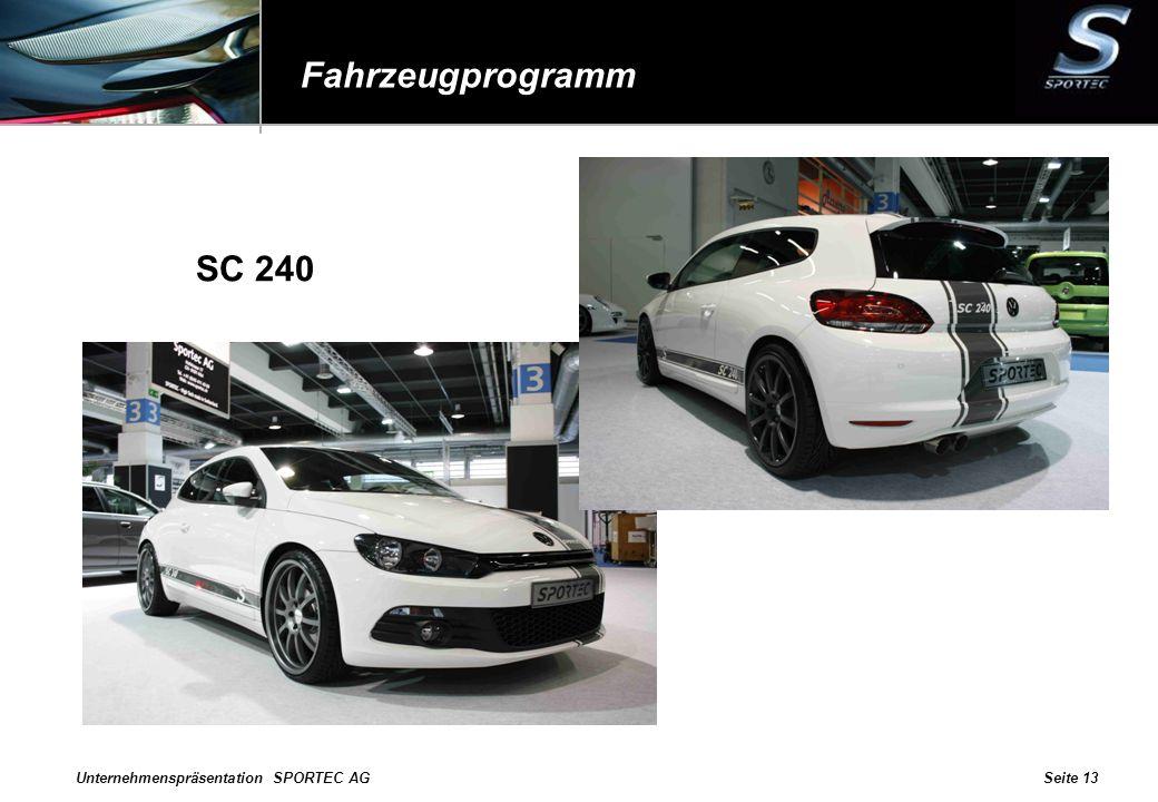 Fahrzeugprogramm SC 240 Unternehmenspräsentation SPORTEC AG