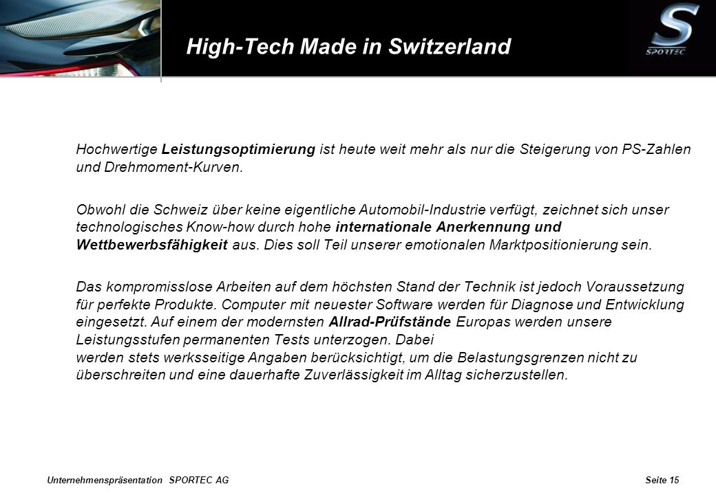 High-Tech Made in Switzerland