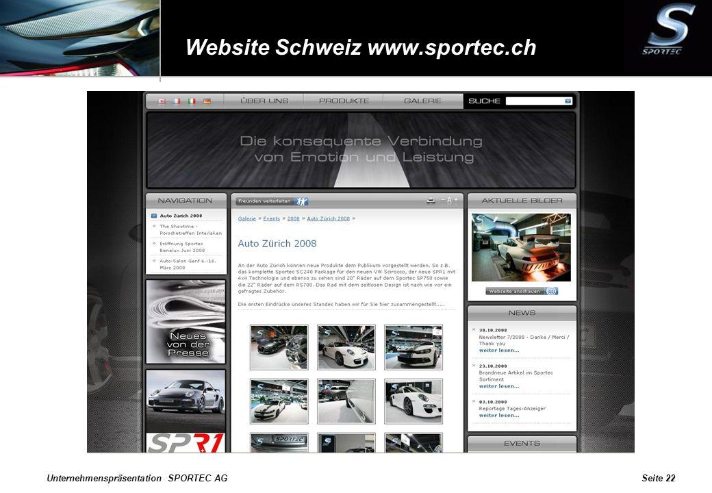 Website Schweiz www.sportec.ch