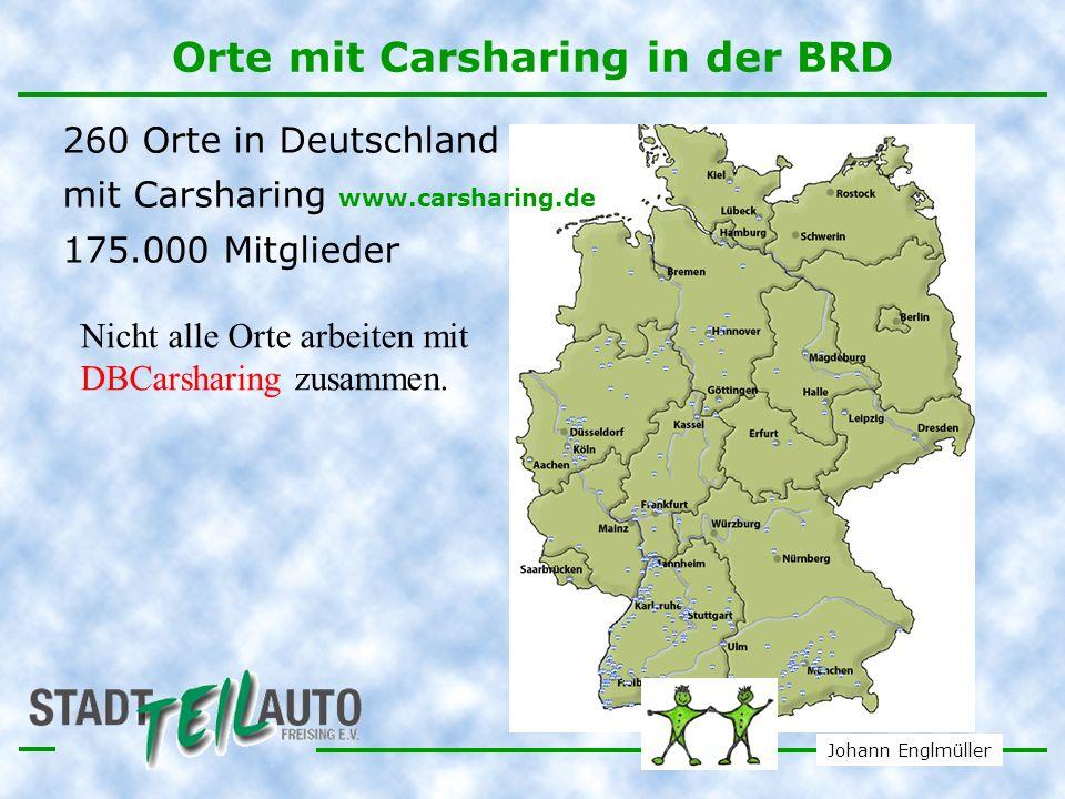 Orte mit Carsharing in der BRD
