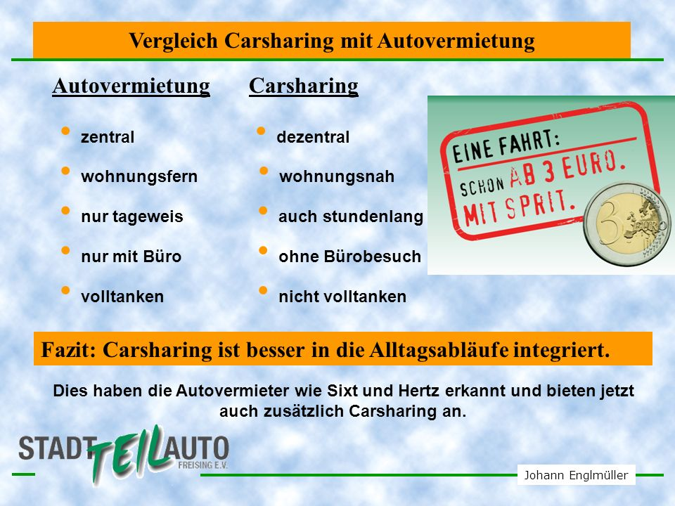Vergleich Carsharing mit Autovermietung