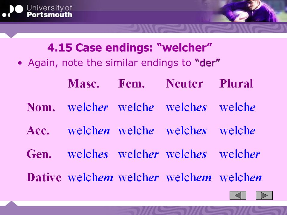 4.15 Case endings: welcher