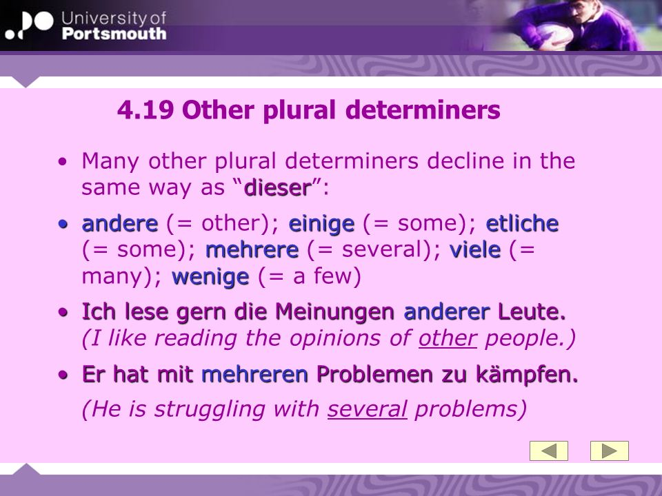 4.19 Other plural determiners