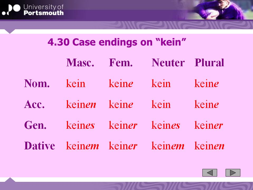 4.30 Case endings on kein