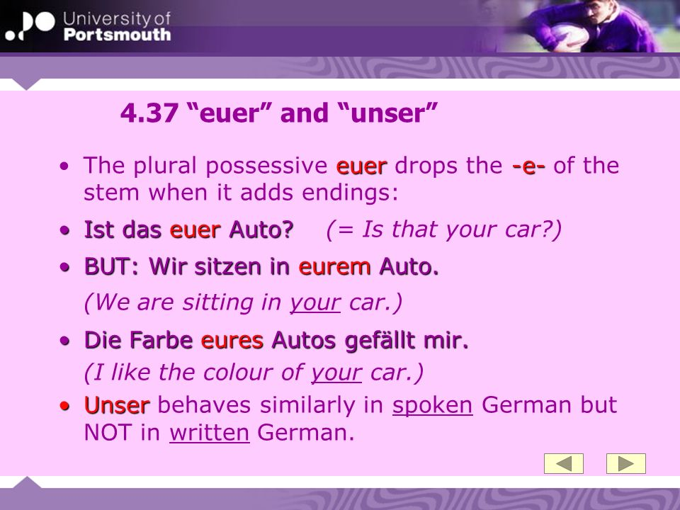4.37 euer and unser The plural possessive euer drops the -e- of the stem when it adds endings: