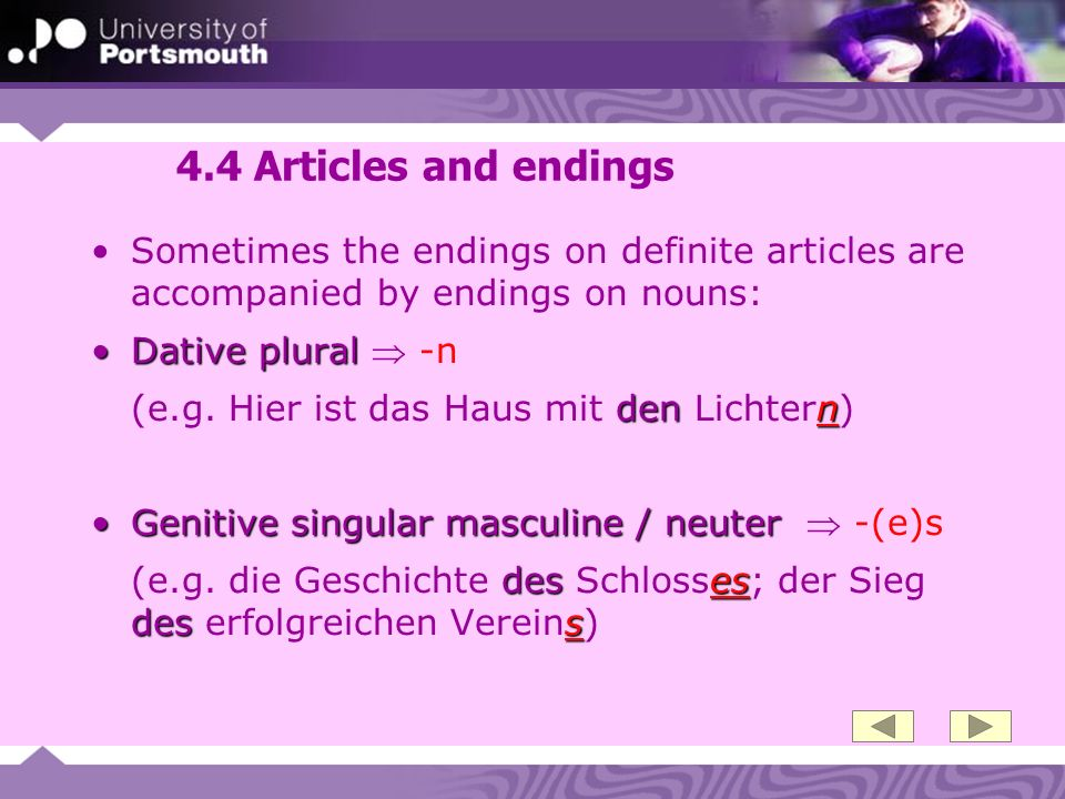 4.4 Articles and endings Sometimes the endings on definite articles are accompanied by endings on nouns: