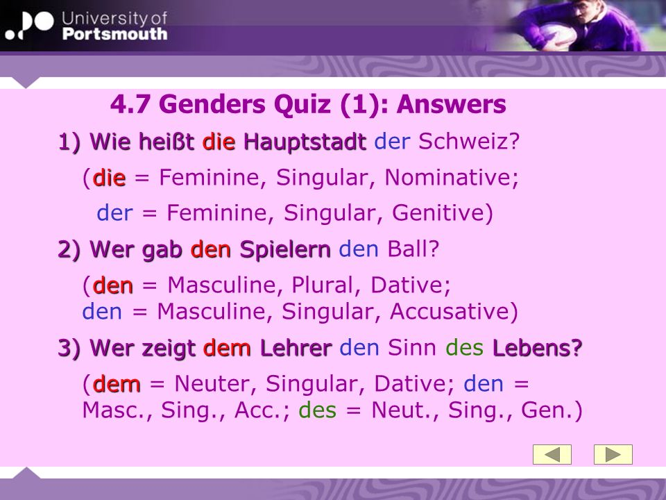 4.7 Genders Quiz (1): Answers
