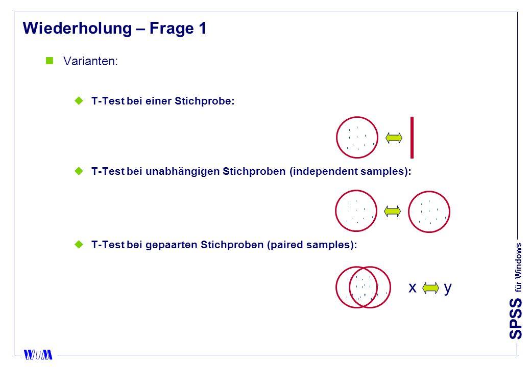 Wiederholung – Frage 1 x y Varianten: T-Test bei einer Stichprobe: