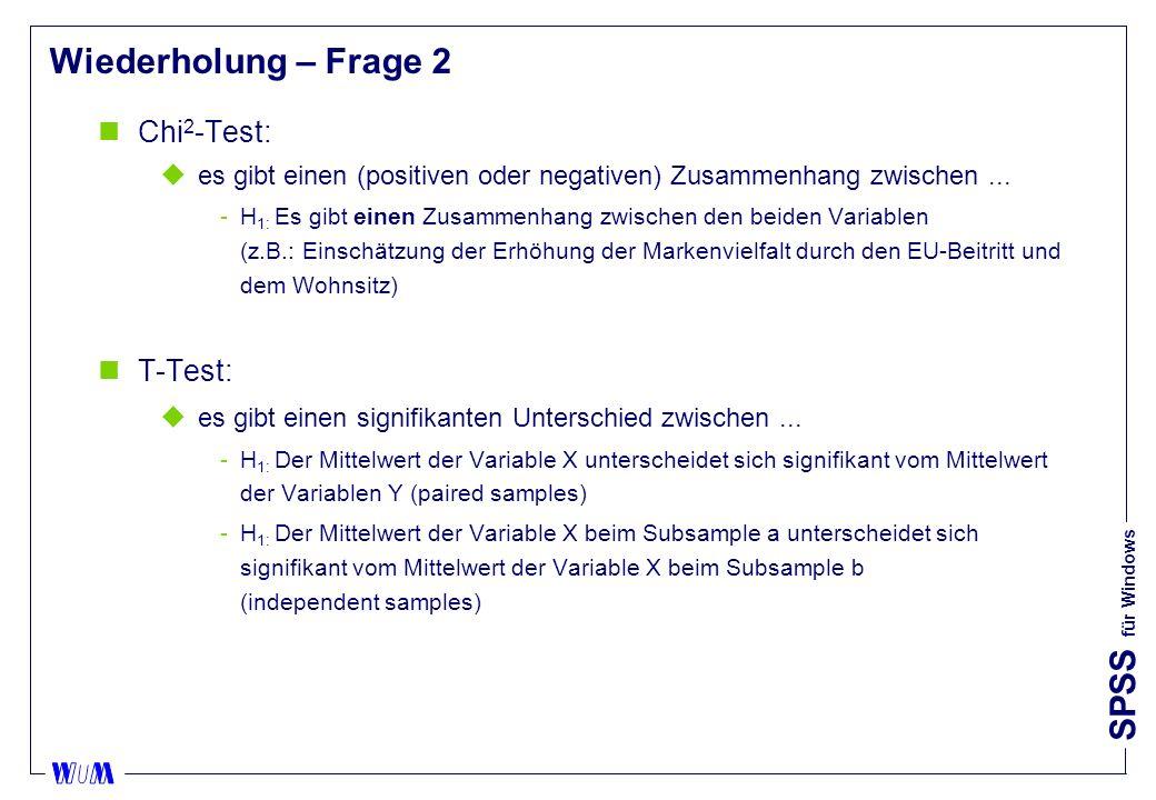 Wiederholung – Frage 2 Chi2-Test: T-Test: