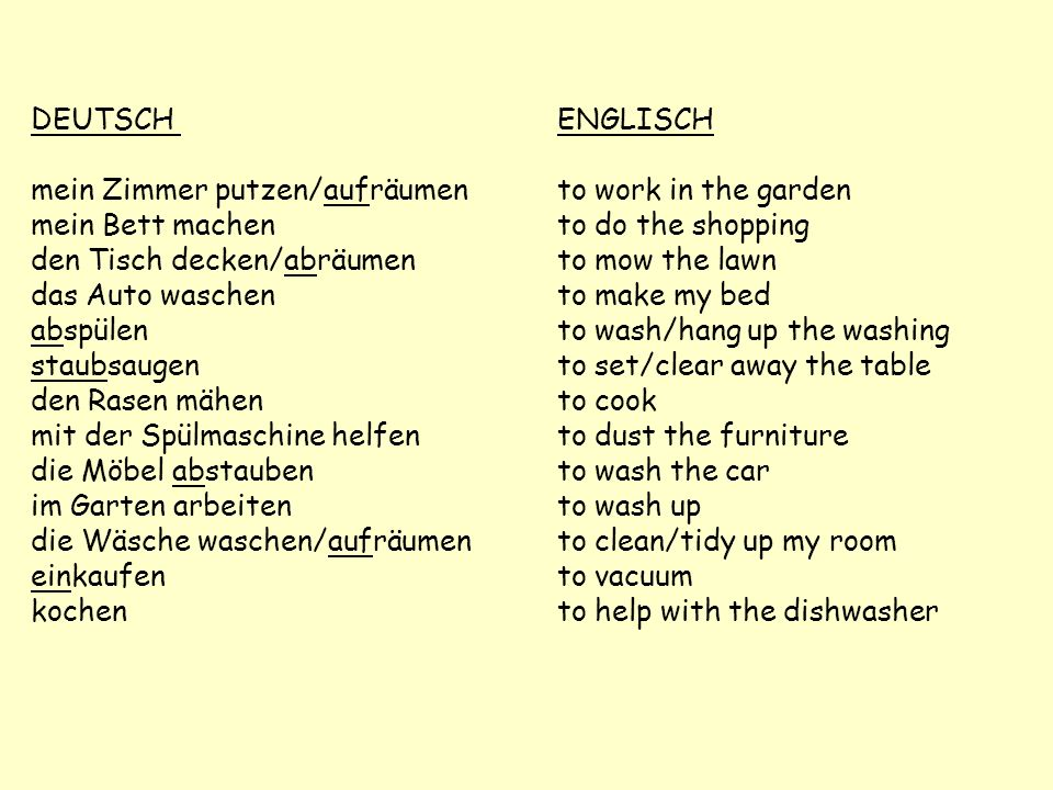 DEUTSCH ENGLISCHmein Zimmer putzen/aufräumen to work in the garden. mein Bett machen to do the shopping.