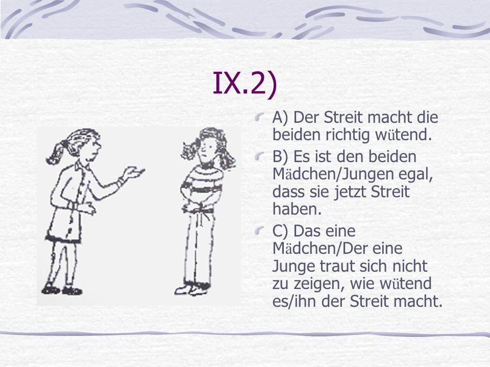 IX.2) A) Der Streit macht die beiden richtig wütend.