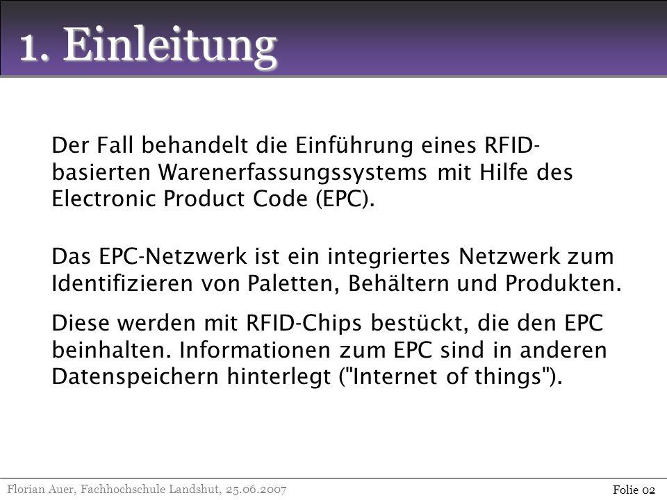 1. Einleitung Der Fall behandelt die Einführung eines RFID-basierten Warenerfassungssystems mit Hilfe des Electronic Product Code (EPC).