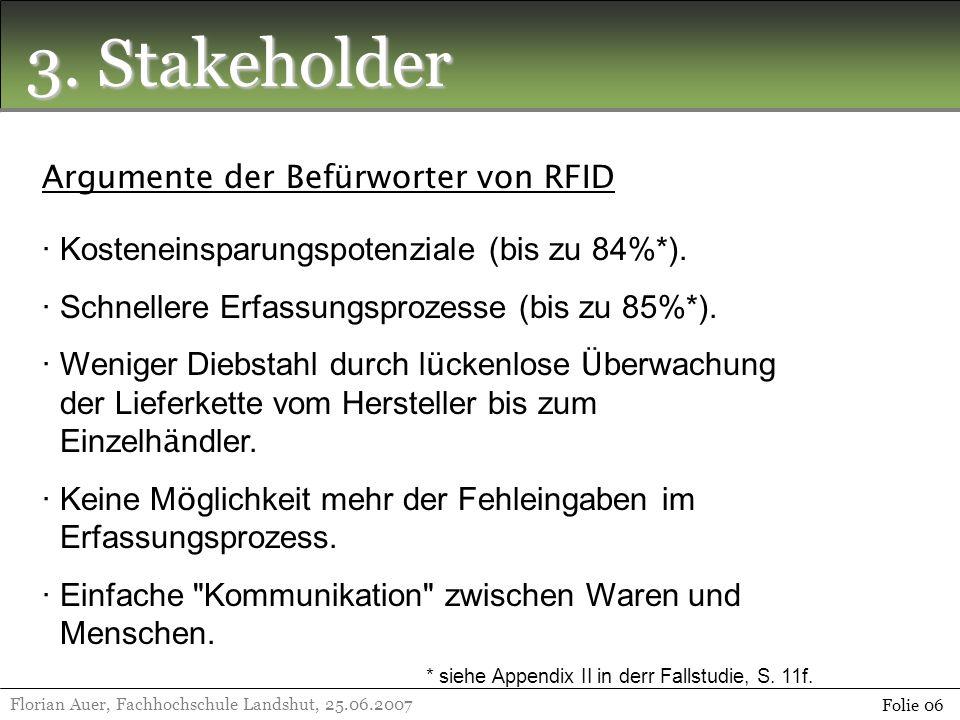 3. Stakeholder Argumente der Befürworter von RFID