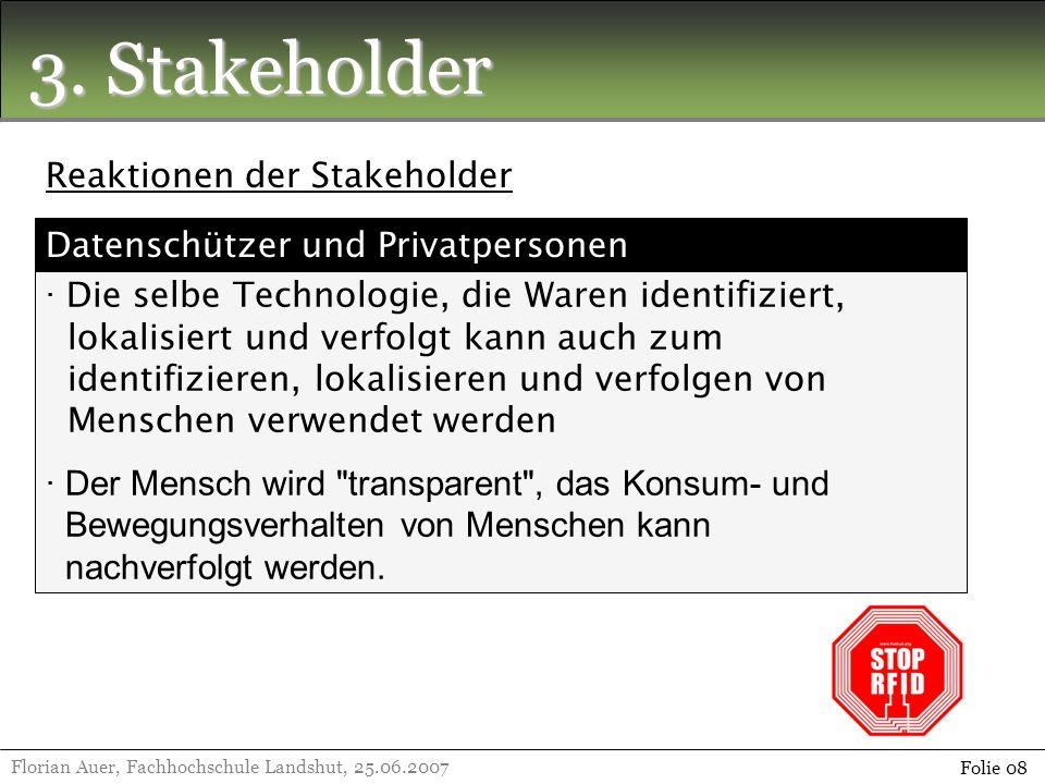 3. Stakeholder Reaktionen der Stakeholder