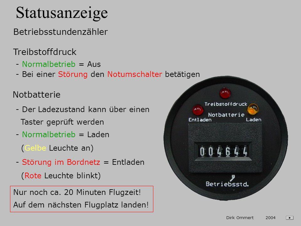 Statusanzeige Betriebsstundenzähler Treibstoffdruck Notbatterie