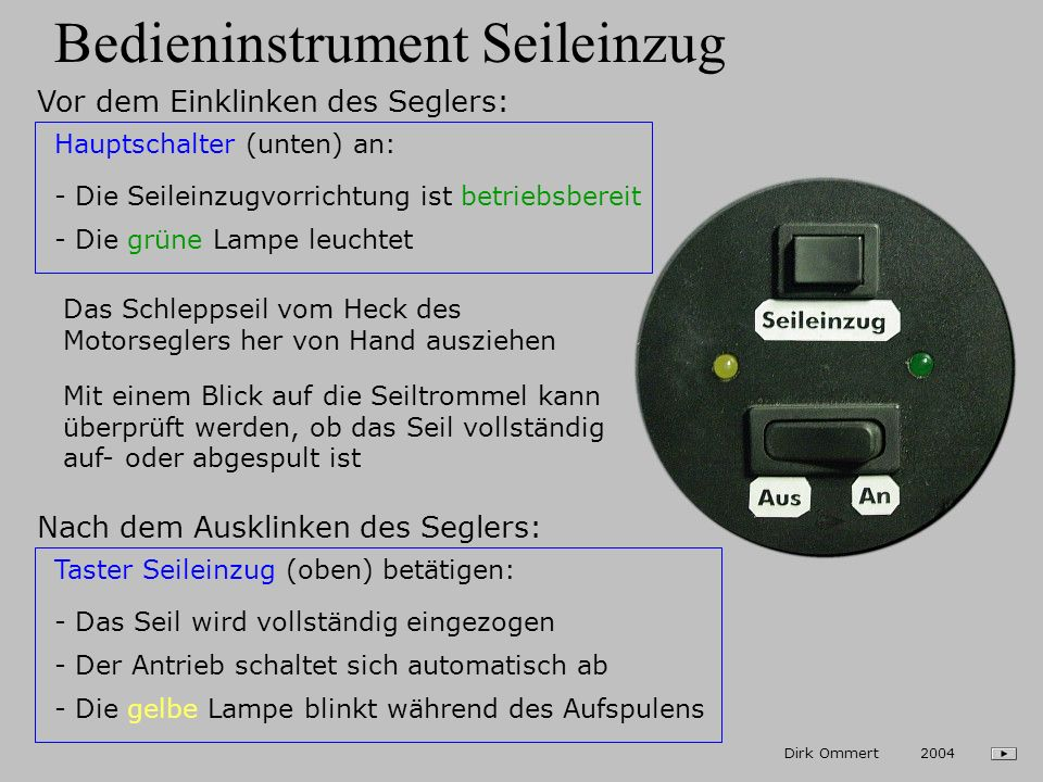 Bedieninstrument Seileinzug