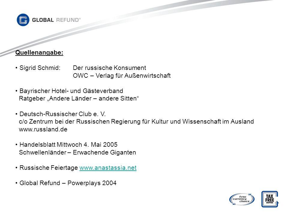 Quellenangabe: Sigrid Schmid: Der russische Konsument. OWC – Verlag für Außenwirtschaft. Bayrischer Hotel- und Gästeverband.