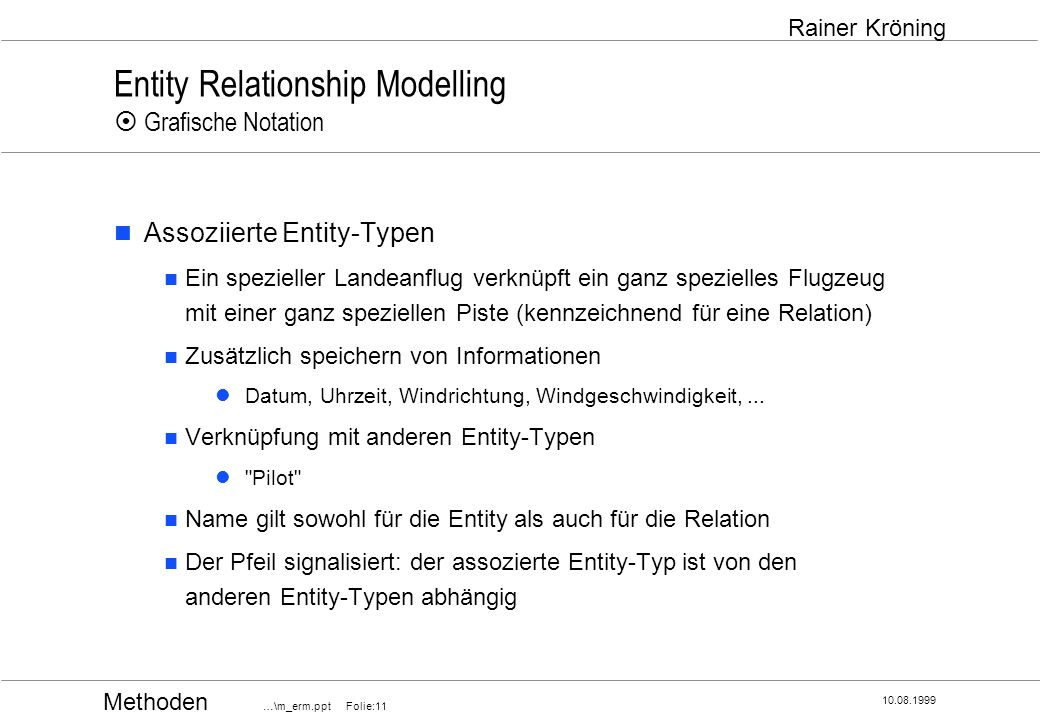 Entity Relationship Modelling ¤ Grafische Notation