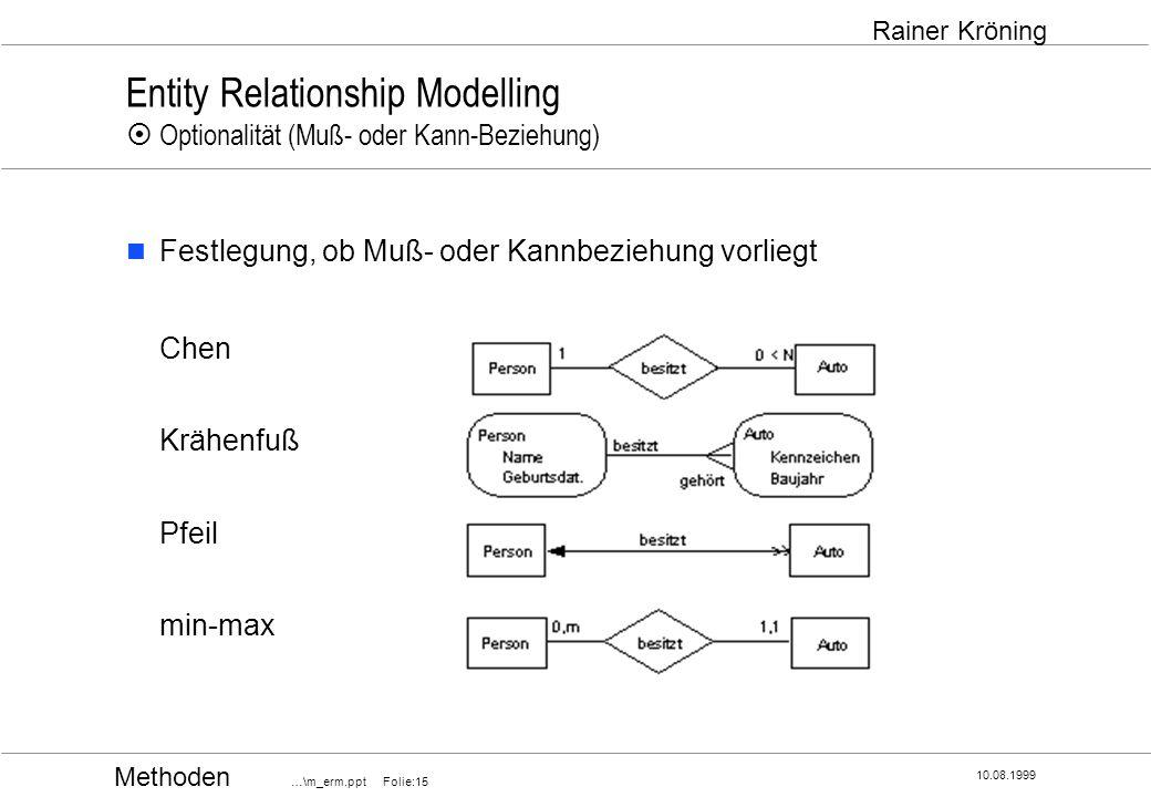 Entity Relationship Modelling ¤ Optionalität (Muß- oder Kann-Beziehung)