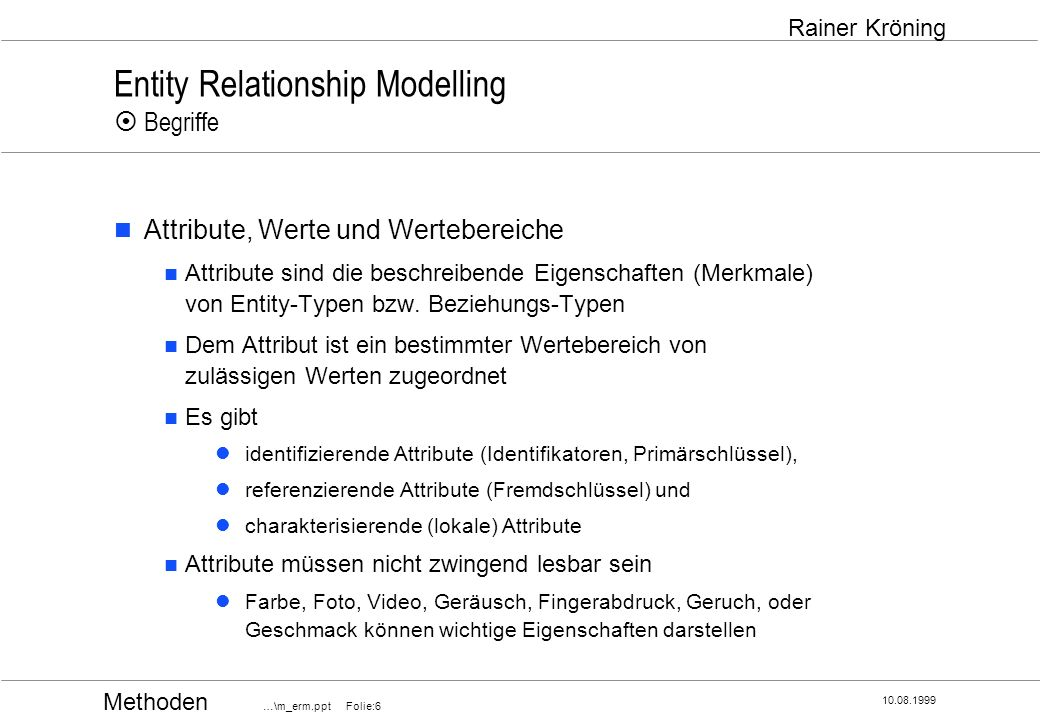 Entity Relationship Modelling ¤ Begriffe