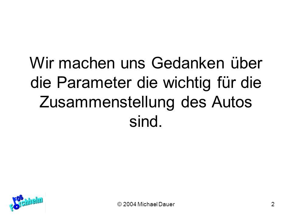 Wir machen uns Gedanken über die Parameter die wichtig für die Zusammenstellung des Autos sind.