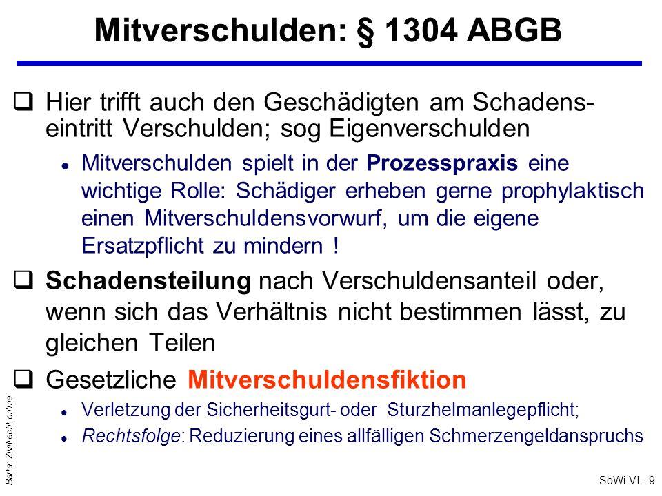 Mitverschulden: § 1304 ABGB
