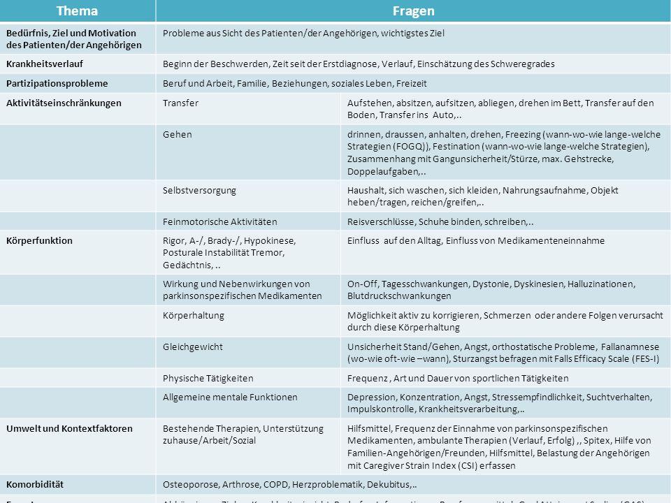 Thema Fragen. Bedürfnis, Ziel und Motivation des Patienten/der Angehörigen. Probleme aus Sicht des Patienten/der Angehörigen, wichtigstes Ziel.