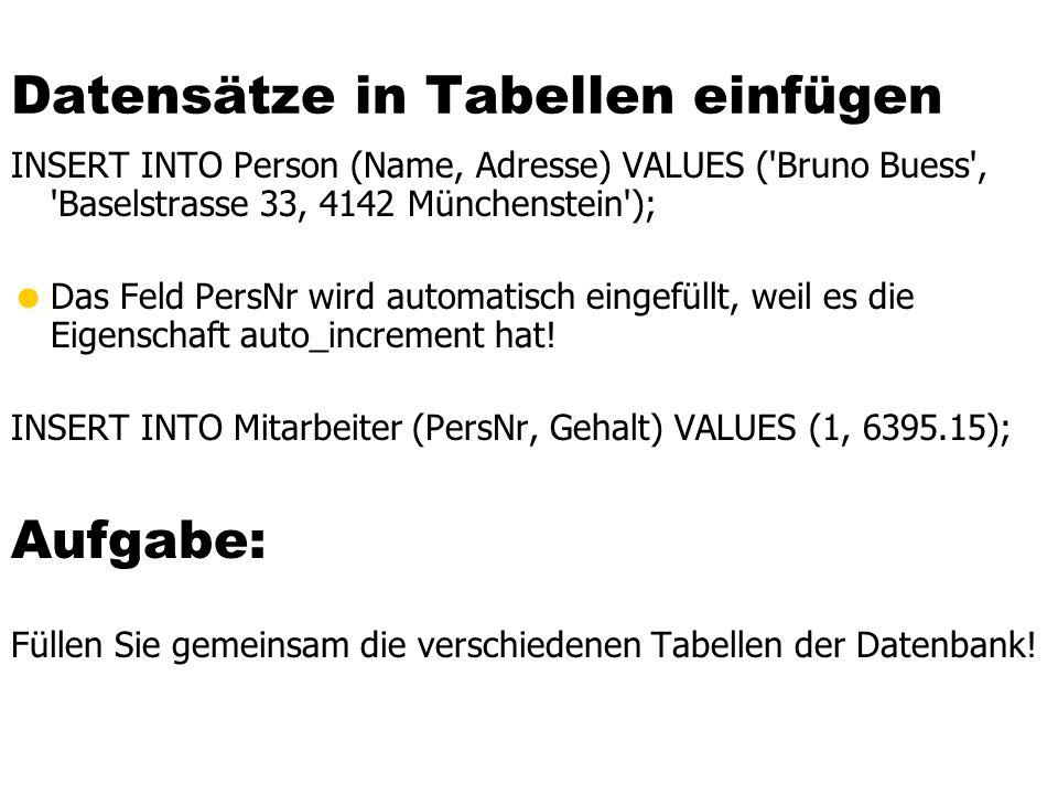Datensätze in Tabellen einfügen