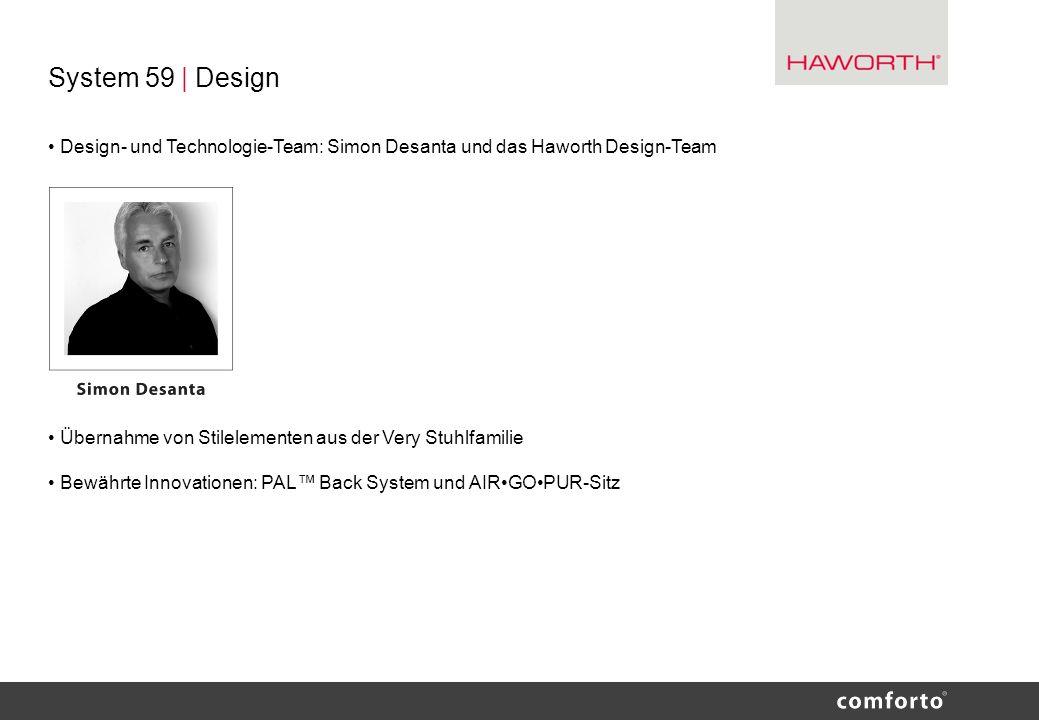 System 59 | Design• Design- und Technologie-Team: Simon Desanta und das Haworth Design-Team. • Übernahme von Stilelementen aus der Very Stuhlfamilie.