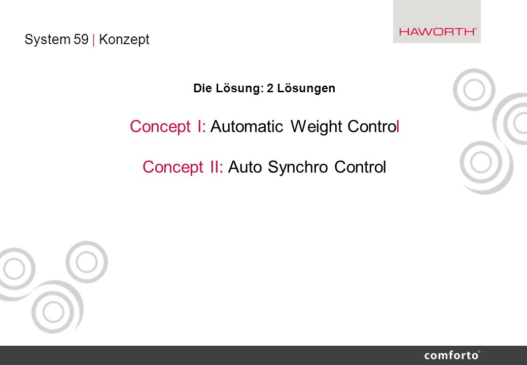 Concept I: Automatic Weight Control Concept II: Auto Synchro Control