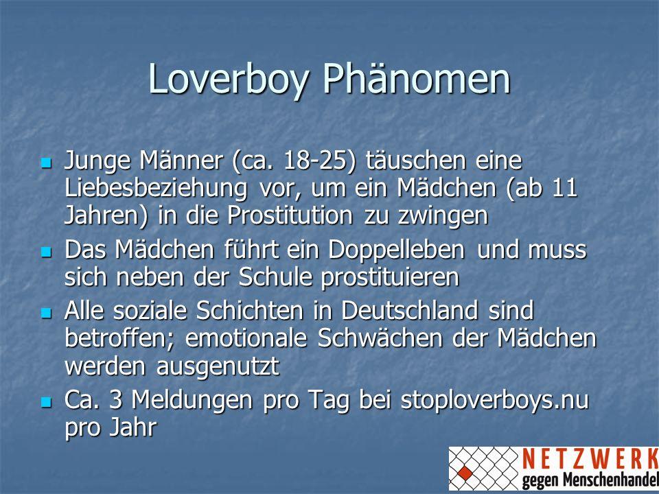 Loverboy PhänomenJunge Männer (ca. 18-25) täuschen eine Liebesbeziehung vor, um ein Mädchen (ab 11 Jahren) in die Prostitution zu zwingen.
