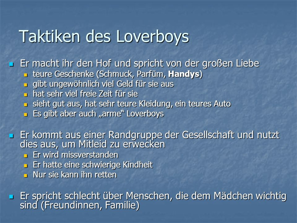 Taktiken des Loverboys