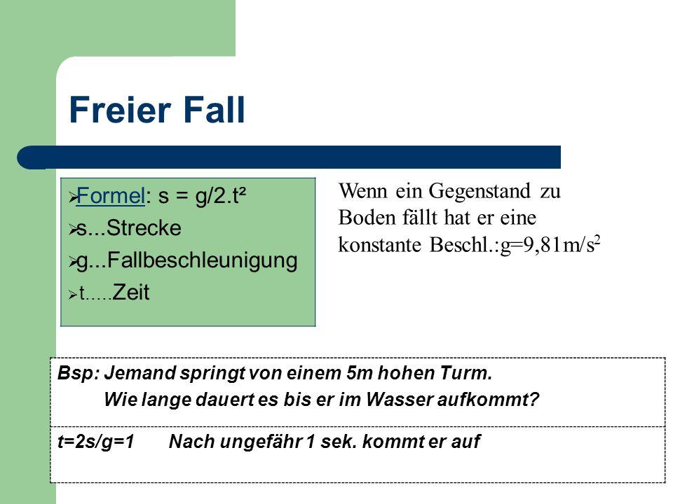 Freier Fall Formel: s = g/2.t² s...Strecke g...Fallbeschleunigung